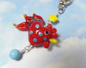 Red the Rooster - chicken & egg key chain or purse clip - lampwork glass- red, aqua blue and yellow