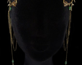 Antlers Diadem - Faun - Pagan - Nymph - Green - Circlet - Woodland - Mythical - Headdress - Forest Goddess - Wiccan - Mother Nature - Bronze