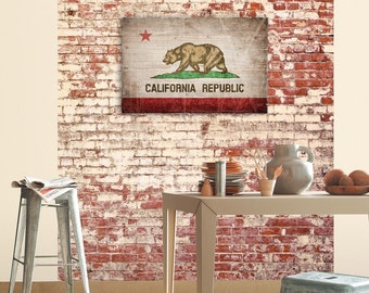 Large California State Flag Planked Wood Wall Art Distressed