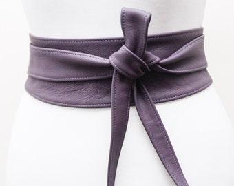 Purple Leather Obi Belt | Cinch Belt | Leather Sash belt | Corset Belt | Plus size belt | Purple Leather Belt | Statement Belt | Wrap Belt