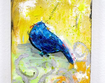 """Love for a Blue Bird Painting 7""""x5"""""""