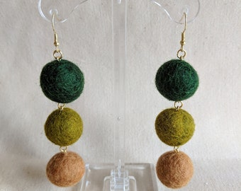 Wool ball earrings // earth colors, brown, green