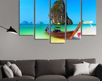 LARGE XL Wooden Boat Canvas Print Thailand Beach Summer Asia Canvas Wall Art Print Home Decoration - Framed and Stretched