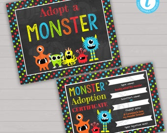 Adopt A Monster Little Monster Birthday Party Monster Birthday Decorations Monster Party Decorations Monster Printables Editable Birthday