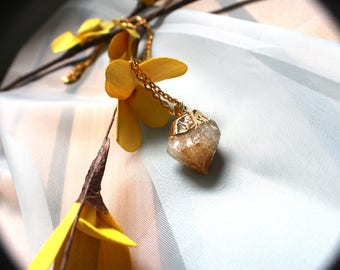 24 K Citrine Point Necklace, Crystal Pendant, Gold Chain
