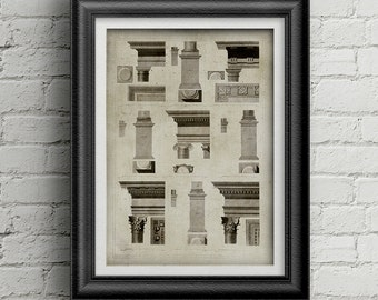 Architecture poster 003 - architecture print digital download - old book illustration - architecture illustration - old architecture