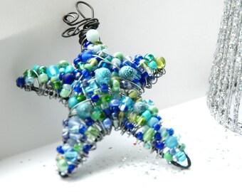 Blue Star Ornament, Beaded Star, Tree Ornament, Christmas, Wire Star, Hostess Gift, Beaded Star Ornament, Star Suncatcher - Blue Christmas