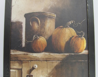 Fall Wall Decor,Crocks,Pumpkins,Handmade distressed Frame,John Rossini