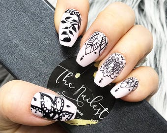 READY TO SHIP | Mendie | Light Pink with Black Pattern Press on Nails | Full Set | Fake Nails | False Nails | Glue On Nails | The Nailest
