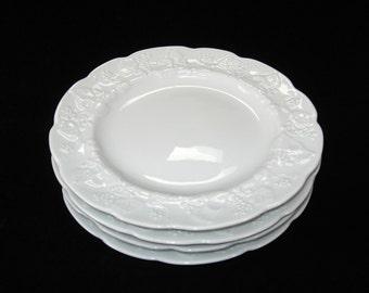 Dansk Designs IVY White Embossed Bread & Butter Plates Set of 4 France - MINT