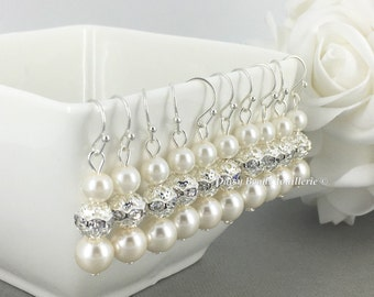 Pearl Earrings Ivory Earrings Bridal Earrings Bridesmaid Earrings Bridesmaid Gift Wedding Earrings Gift for Her Mother of Bride Jewelry