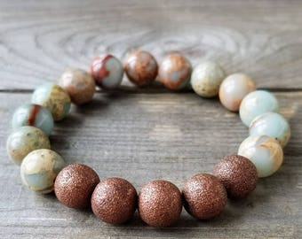 10mm Snakeskin Jasper with Antique Copper Accent Beads
