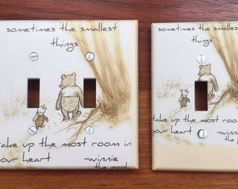 Classic Winnie the Pooh light switch cover baby nursery // sometimes the smallest things // SAME DAY SHIPPING**