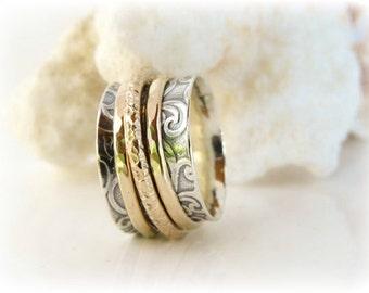 Spinner Ring, Girlfriend Ring, Celtic Ring, Thumb Ring, Sterling Silver Ring, 14K Gold Ring, Wedding Ring, Meditation Ring, Two Tone Ring