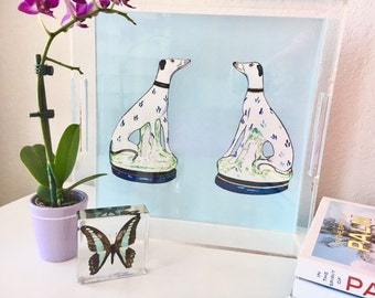 STAFFORDSHIRE GREYHOUND TWINS on Blue & Pink Tray  (2 images -reversible!) 12X12 Acrylic Tray