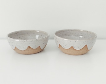 Set of two Ceramic Cloud Bowls, white ceramic bowls, speckled white cereal bowl with wax resist cloud design, pottery bowl, ice cream bowl