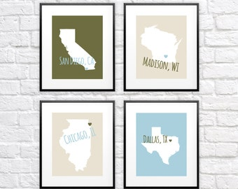 Custom Map Print Collection - Four Piece 8x10 Art Collection, Custom Maps of Your Choice, Any Four - City and State Names, Countries World