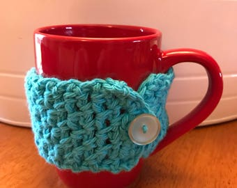 Aqua Coffee Cup Cozy