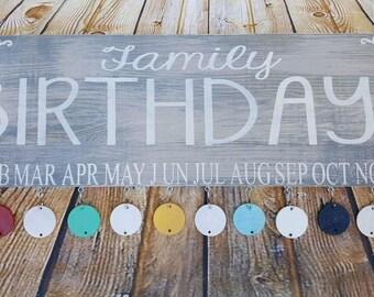 Family birthday board, family celebrations sign, hand paintedwood sign, family sign, family birthday sign, birthday calendar sign