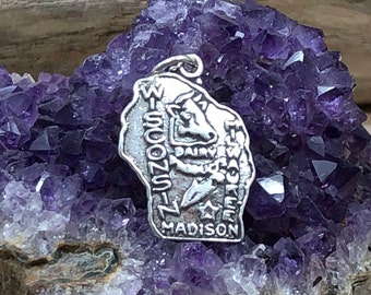 Wisconsin Charm, Wisconsin Pendant, Wisconsin State Charm, Sterling Silver Wisconsin Charm, Madison Charm, Milwaukee