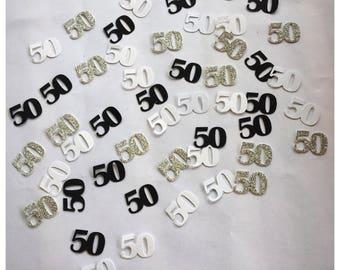 50th Birthday Party - 50th Birthday - 50th Birthday Decor - 50th Birthday Decorations -Birthday Confetti -Black and White Confetti