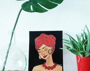 Illustration portrait and background black tea Red Headscarf - watercolor and gouache paint and felt Posca
