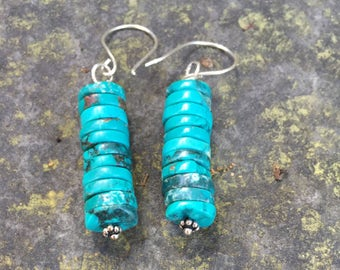 Southwestern Turquoise Stacked Dangle Earrings.  Cowgirl Earrings  Boho jewelry  Genuine Natural Turquoise