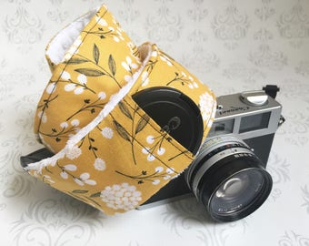 DSLR Minky Camera Strap, Padded with Lens Cap Pocket, Nikon, Canon, DSLR Photography, Photographer Gift,  Gift - Mustard Cotton