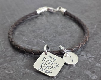 My Story Isn't Over Yet Semicolon Frolic Braided Leather Bracelet - Hand Stamped Silver and Leather Bracelet - Braided Leather Bracelet