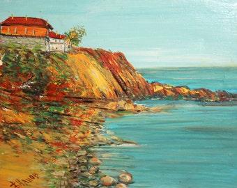 Vintage seascape landscape impressionist oil painting signed