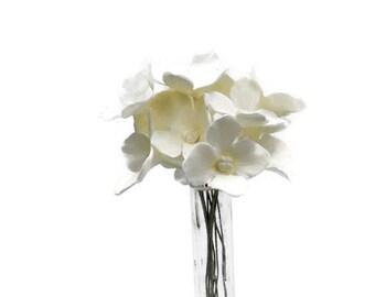 12 White Hydrangea Gumpaste Sugar Flowers for Wedding and Bridal Shower Cake Toppers, diy brides, modern or vintage weddings, filler flowers