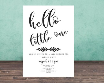 Baby Shower Invitation, BLACK AND WHITE  Baby Shower Invitation, Printable, Baby Shower, Watercolor, Hello Little One