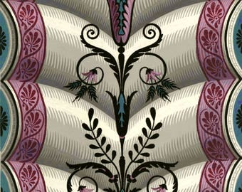 antique french chateau wallpaper illustration scrolls purple Marie Antoinette style digital download