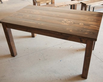 5' Farmhouse Table    Solid Wood Farmhouse Dining Table   Farmhouse Kitchen Table   Built to Order   Rustic Harvest Table