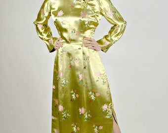 Asian Cheongsam Dress, Long Cheongsam Dress, 1950's Long Dress, Dress with Side Slit, Vintage Prom Dress, Spring Formal Dress, Size Medium,