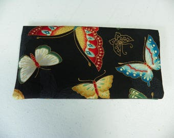 Butterfly Homemade Fabric Checkbook cover