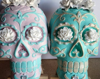 Plaster Sugar Skull - Made to order in any colour you like!