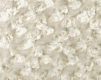 Minky fabric, ivory ROSES fabric, fabric coupon minkee
