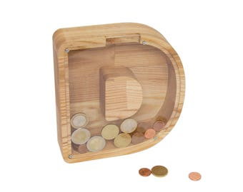 Piggy bank - Money box wood - Money box - Wooden money box - Kids piggy bank - Toddler gift wood - Money box gift - Toddler gift name