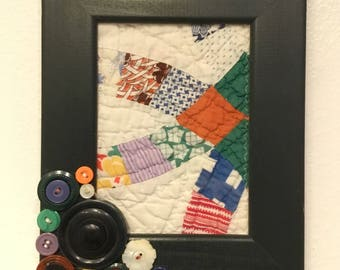 Vintage quilt piece framed-black-wall hanging-easel-vintage buttons-brown-yellow-blue-periwinkle-red-cream-lavender-orange-primitive