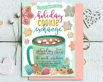 Holiday Cookie Party Invitation Chalkboard Cookie Exchange