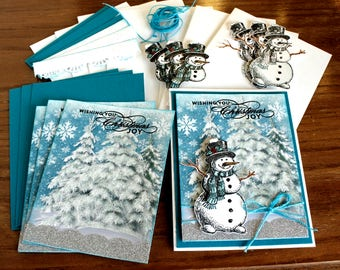 Snowman Christmas Card Kit, Four Handmade DIY Cards and envelopes