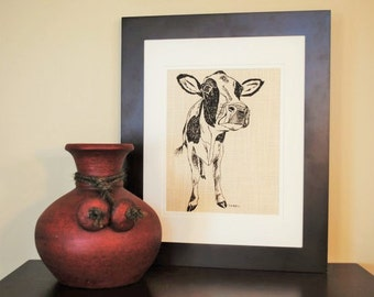 Wall Art Dark Brown Cow Print - Cow Kitchen Decor - Art for Bathroom - Kitchen Print - Living Room Art - Similar to Burlap - Kitchen Gift