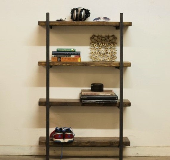 Delightful Reclaimed Wood And Steel Bookshelf Macagon Design Wall