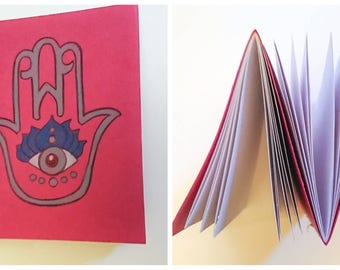 Hamsa double-sided notebook, pink