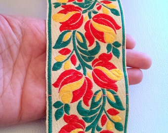 Beige Fabric Trim With Floral Embroidery, Yellow, Red And Green Trim, 65mm wide - 041203L56