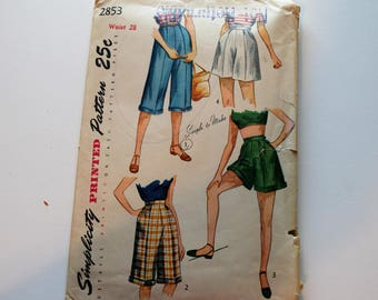 Vintage 1950s Simplicity 2853 shorts, pedal pushers sewing pattern