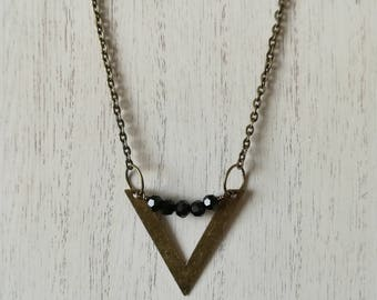 Rustic Bronze Chevron Necklace   Arrow Pendant   Layering Necklace   Huntress Jewelry   Gift for Her