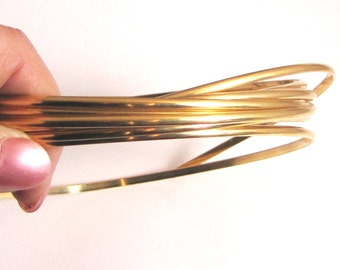 Gold Half Round wire, 10 ft of 8 gauge, tribal bangel, Red Brass Wire, great for rings,fat bangle wire, gold half round