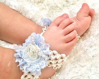 Baby girl headband & barefoot sandals blue lace with pearls newborn photos set- first birthday - baby shower - baby gifts